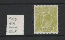 1928 Australia KGV SG 102 4d yellow-olive Sm. multi Perf. 14 Mlh minor variety
