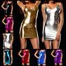 Women Metallic Wet Look Bodycon Evening Party Clubwear Short Mini Dress Costume