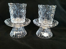 "Partylite Candle Holders Clear Glass For Votives Or Tapers 4 1/2"" 2-2 Piece Set"