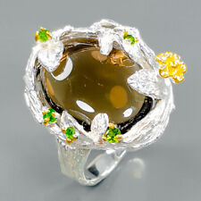 Design Jewelry Natural Smoky Quartz 925 Sterling Silver Ring Size 8/R94137