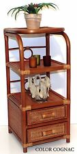 Handmade Bookcase Designer Rattan Wicker w/ 2 Drawers 3 Shelves Color Colonial
