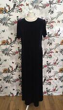 * Vintage 80s Laura Ashley* Deep Blue Velvet Maxi Dress Plus Size Large 16 18