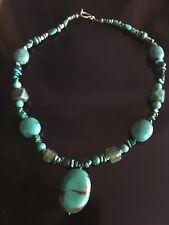 Mexican Green Bead Semi Precious Malachite Turquoise Stone Pendant Necklace