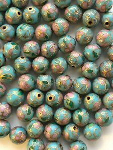 50 8mm Round Vintage Lt Blue Cloisonne Beads - 1/2 Drill - Great for Earrings