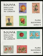 Bolivia Beautiful Flowers Two Imperf Souvenir Sheets Mint NH Scott C313ab CV$50.