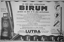 PUBLICITÉ 1927 BIRUM LE ROI DES ASPIRATEURS MAGASINS LUTRA - ADVERTISING