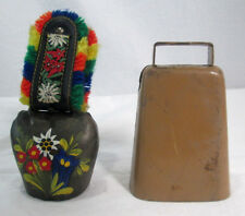 Cow Goat Bell Artistic Rustic Lot of 2 Brown Painted Colorful