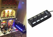 4-Port USB 2.0 Hub High Speed Adapter w/ Switch for Lego Lighting/PC/Laptop-Blk