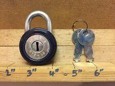 Vintage Padlock Navy Blue TOKOZ - 3 Made in Czechoslovakia Czech 2 Keys 375 - 45