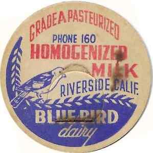 Blue Bird Dairy Milk Bottle Cap RIVERSIDE California, CA CAL