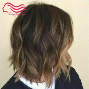 100% Human Hair New Fashion Charm Women's Short Light Brown Wavy Natural Wigs