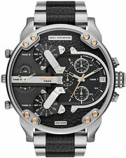 DIESEL DZ7349 Mr. Daddy 2.0 Black Dial Stainless Steel Black Leather Men's Watch