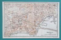 """1934 MAP 6 x 10"""" (15 x 25 cm) - NAPLES Italy City Plan & Environs Vesuvius"""