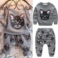 2PCS Baby Kids Set Clothes Long Sleeve Cats Print Tracksuit +Pants Outfits Set
