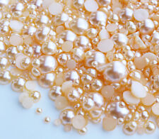 800 Pcs Champagne Flatback Half Faux Pearls Beads DIY Crafts Nail Art