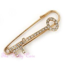 Large Gold Plated Key Kilt, Safety Pin Brooch w/ Swarovski Crystals, 18 Birthday