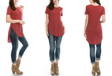 NEW NELLY LADIES PLUS SIZE SHORT SLEEVE TUNIC TOP MARSALA SZ 2X USA MADE