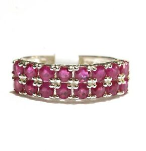 925 Sterling Silver natural round ruby gemstone band ring 3.3g womens size 7