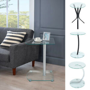 Glass Small Sofa Side End Table Beside Corner Lamp Coffee Table w/ 2 Shelf Clear
