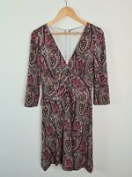 Queenspark Ruched V-Neck 3/4 Sleeve Knee Length Paisley Dress Women's Size M