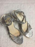 Michael Kors Women's Silver Ankle Strap Braided Espadrilles Dress Shoes Sz 8 M b