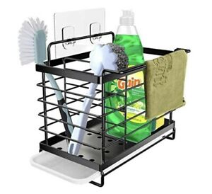 Black Stainless Steel Kitchen Sink Caddy Organiser, Adhesive Wall Mount/standing