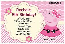 1 x PEPPA PIG BIRTHDAY PERSONALISED CHILDRENS PARTY INVITATIONS + FREE MAGNETS