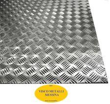 Lastra Alluminio mandorlata barca brico camper tappetini pedane mm 3,0x500x1000