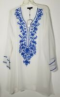 EMBELLISHED WOMEN'S BLUE & WHITE COVER-UP TUNIC TOP 1X 18 20 PLUS SIZE NEW NWT