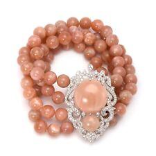 Meher's Jewelry SS Peach Moonstone & White Zircon Accent 4 Line Stretch Bracelet