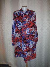 Long Sleeve lined Dresses Jennifer Lopez 10,8,6,4,Multi Red Blue Floral Mock Nec