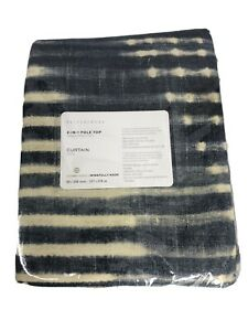 "Pottery Barn Shibori Diamond Linen Cotton Lined Drape Blue 50x 108"" NEW curtain"