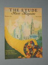 "1932 Etude Music Magazine Cover ""Prosperity Is The Fruit Of Education"" Theme"