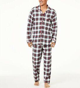 Family Pajamas Men's Stewart Plaid Pajama Set White Multicolor