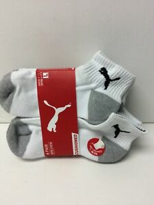 Puma Youth Quarter Crew Socks 6 Pack White Sock Size 9-11 Shoe Size 4-9.5 (S)