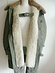 Vintage dated 1944 Swedish Military Parka heavy shearling lined coat Large Size