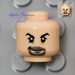 NEW Lego Light Flesh Minifig HEAD - Male w/Gray Goatee Beard Black Eyebrows Man