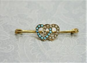 9ct Yellow Gold Seed Pearl & Turquoise Love Heart Brooch  - Thames Hospice