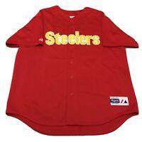 Vtg 90s Pittsburgh Steelers Baseball Jersey NFL Football RED Button Up Shirt XXL