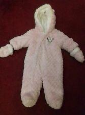 DISNEY MINNIE MOUSE Girls age 3-6 months pink fluffy snowsuit, hardly worn