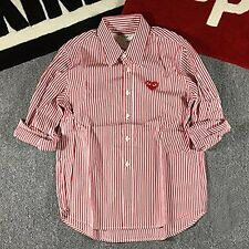 Comme des Garcons Play Red Striped Long Sleeve Little Red Heart Casual Shirts