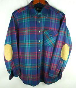 Vintage Pendleton Lobo Blue Green Red Flannel Shirt Size M