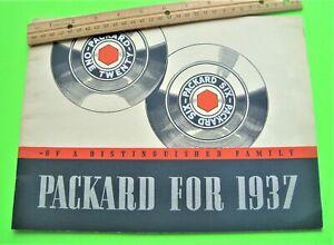1937 PACKARD 120 & SIX BIG DLX COLOR CATALOG Brochure 36-pgs CONVERTIBLES Xlnt