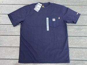 New Carhartt FR Pocket T-Shirt Large Navy Blue Short Sleeve Flame Resistant
