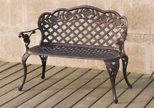 Outdoor Patio Garden Park Metal Iron Bench Floral Basket Weaved Pattern Bronze