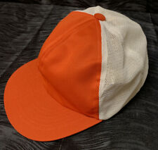 Vintage Orange and White Adjustable Baseball Hat Youth Trucker Mesh