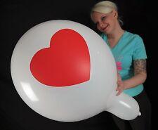 """3 x große Tuftex 24"""" Luftballons HERZ / HEART * WEIß / WHITE* LIEBE / LOVE *"""