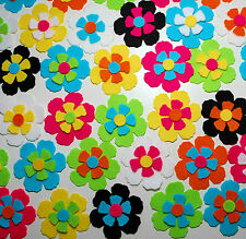 12 x Felt Flower Die Cuts Bright Pink Blue Green Embellishments Toppers Applique