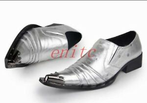 Mens Pointed Metal Toe Leather Slip On Formal Dress Wedding Shoes Silver Party