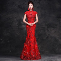 New Women's Slim Embroidery Cheongsam QiPao Chinese Wedding Evening Party Dress